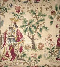 LEE JOFA Royal Flush Handblocked King Hunter Animals Floral Linen England New