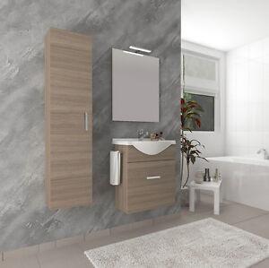Bagno Moderno Completo in Rovere Fumo con porta-asciugamani