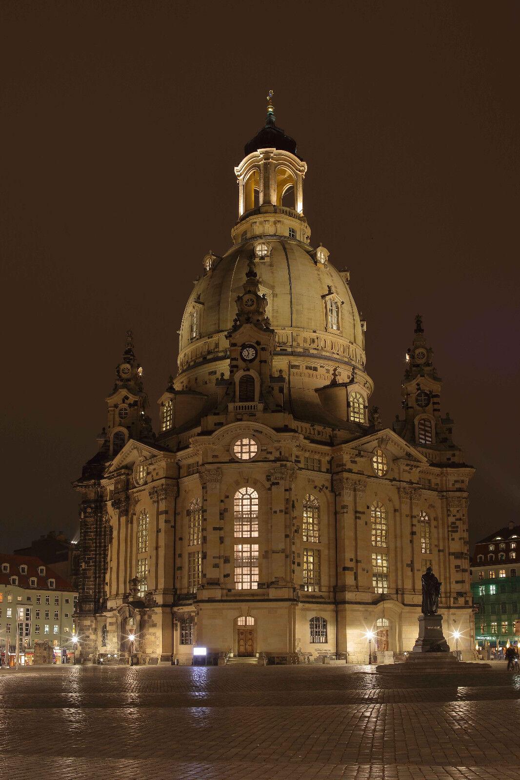 Alu-Dibond Wandbild - Dresden - Frauenkirche bei Nacht -