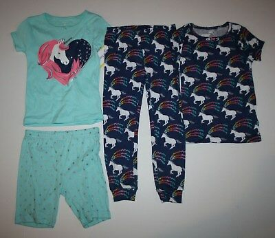 NWT Carter/'s Sz 4T or 5T Girl 4 Piece Rainbow Girls Cotton PJs  Pajamas NEW