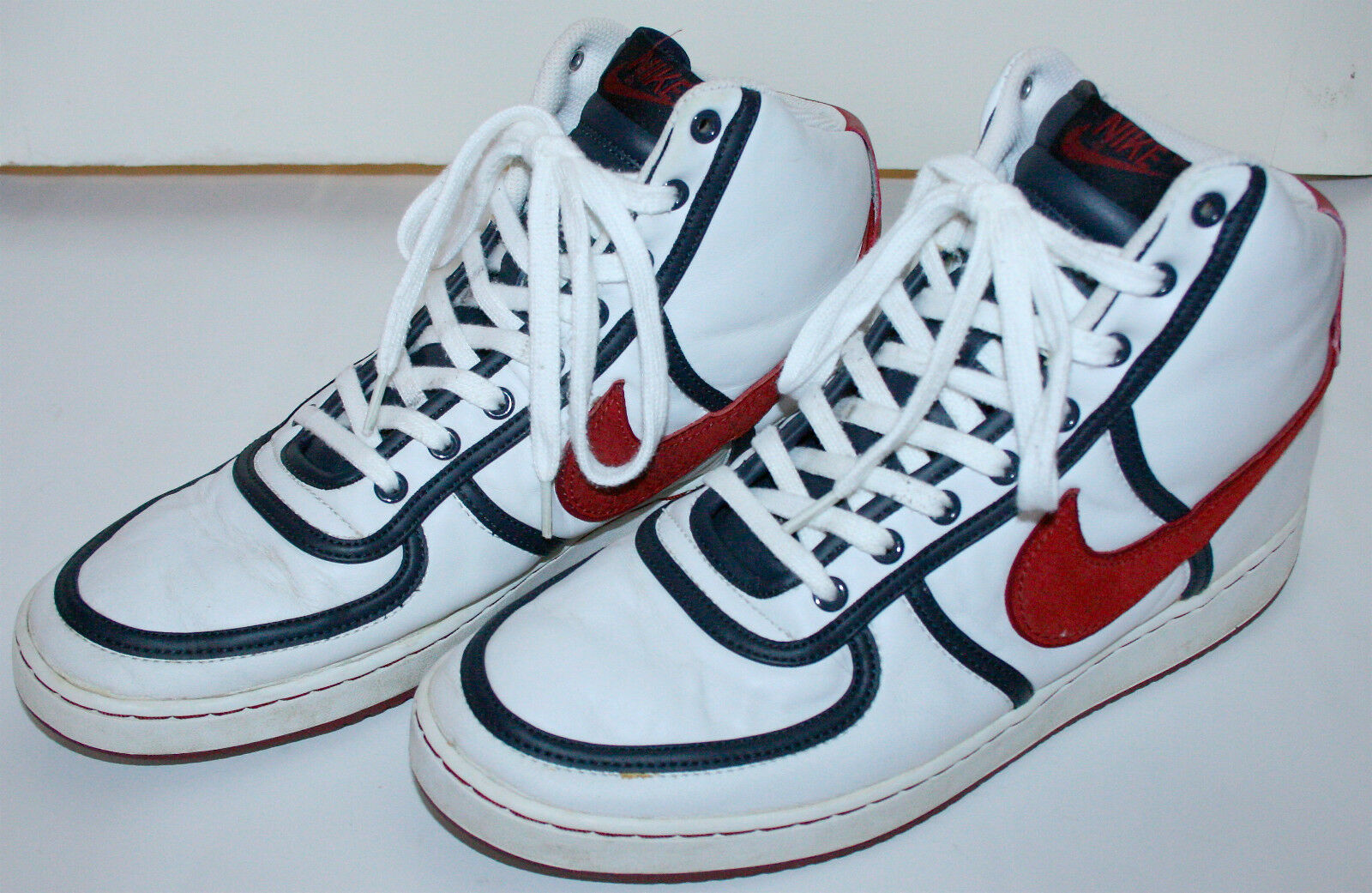 Nike Vandal High Basketball White Navy Red 12 US, 46 EUR, 30CM, 11 Excellent