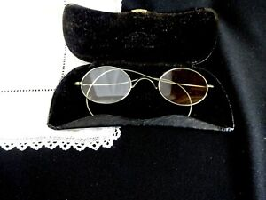 Antique-Oval-Glasses-Wire-Rim-Vintage-Steampunk-Eye-Spectacles-Eyewear-Case
