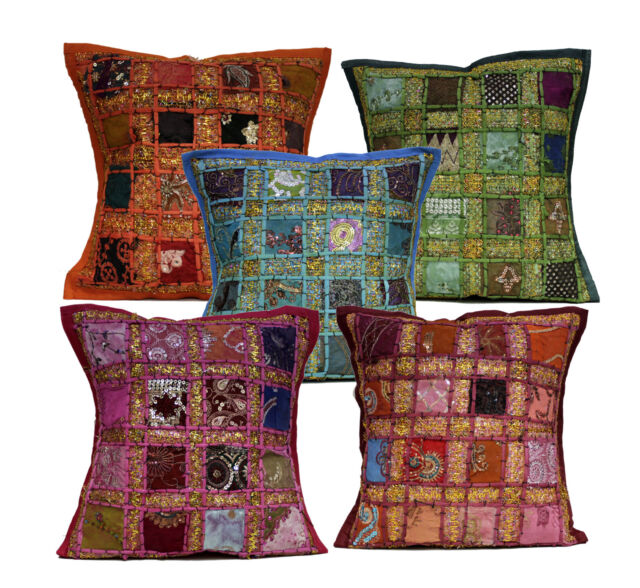 An Embroidery Sequin Patchwork USA Throw Pillow Cushion Cover