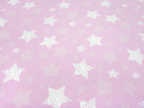 Stoff Baumwolle Jersey retro Sterne rosa flieder weiß Kinderstoff Kleiderstoff