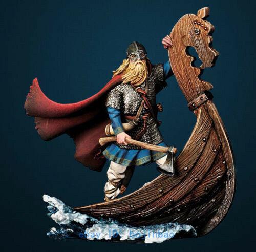 1//32 Scale 54mm Viking Warrior On Boat Unpainted Model Kits Resin Statue Figure