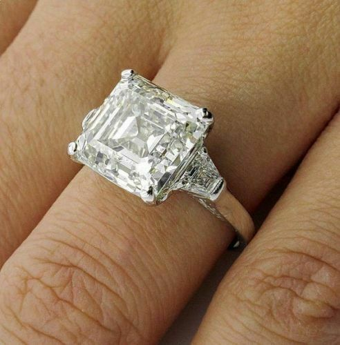 Details about  /3Ct Asscher Simulated Moissanite Three Stone Engagement Ring 14K White Gold Over