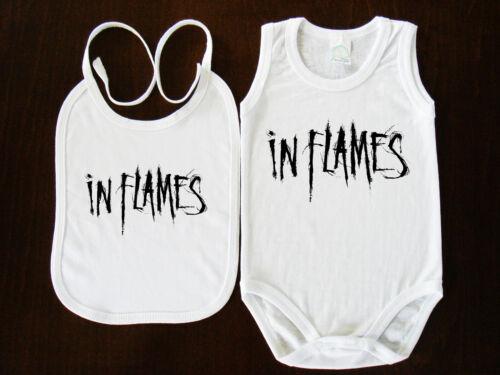 In Flames BIBS+BABY BODYSUIT ONESIE ONE PIECE CLOTHING  FUNK