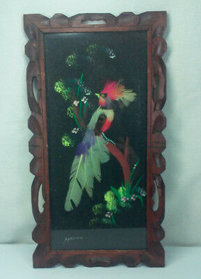 VINTAGE MEXICO FEATHERCRAFT FEATHER BIRD IN FOLK ART HAND CARVED WOOD FRAME