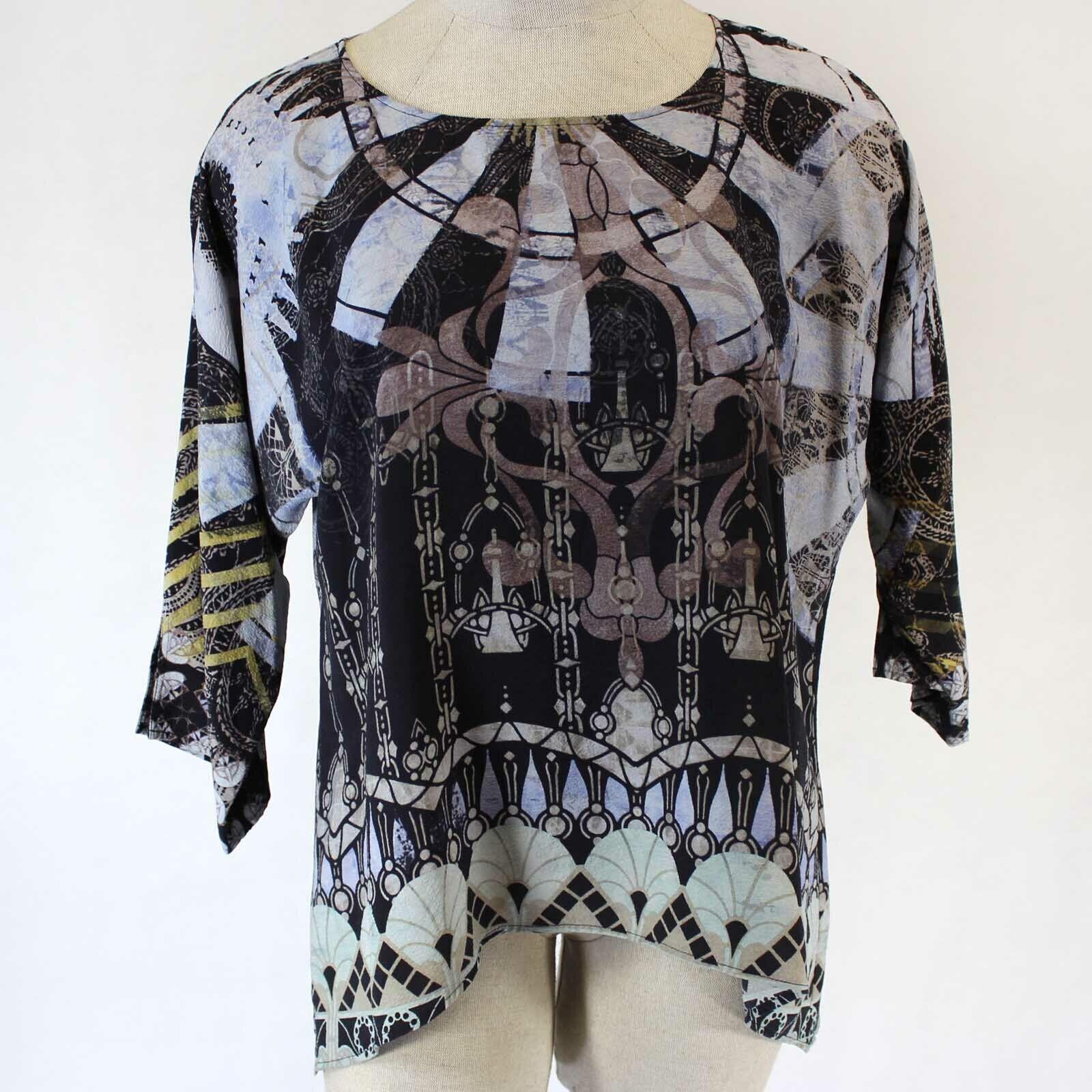Citron Clothing 100% Silk Art To Wear Geometric Print Blouse Plus XL
