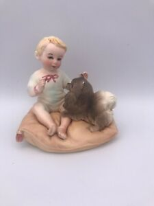 Vintage Bisque Piano Baby On Pillow Pomeranian Dog Japan 2407 Ebay