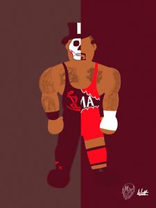 Papa-Shango-X-Kama-Wrestling-Alter-Ego-Art-Series-Glossy-Print-8x10-WWF-WCW-nWo