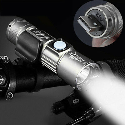Hot MINI Cree Q5 LED USB Rechargeable Flashlight Adjustable Zoom Torch Lamp