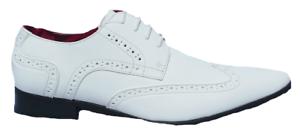 Blanc Homme Prato Z2 en Cuir Doublé de brevet Formel Mariage Chaussures Pointure UK 7-12