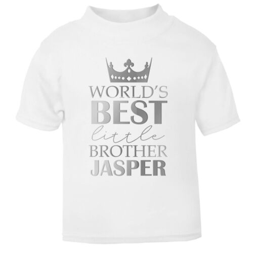 Silver World/'s Best Little Brother CUSTOM NAME T Shirt Top Promoted To New Born