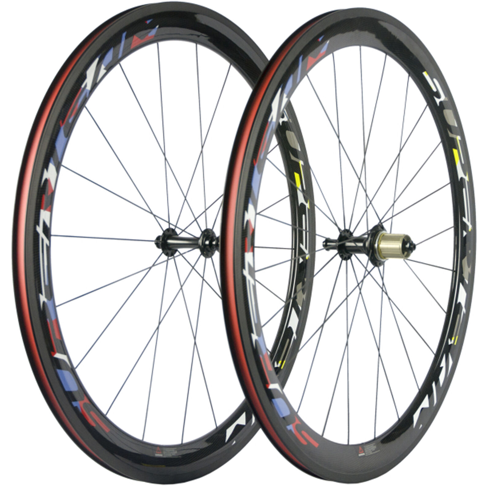 SUPERTEAM 50mm Carbon Clincher Wheelset Smith Hub Light 1420 Spokes Bike Wheels