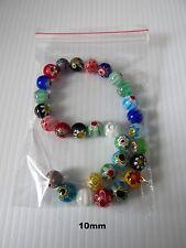 35pcs 10mm millifiori lampwork glass round beads jewellery making craft UK