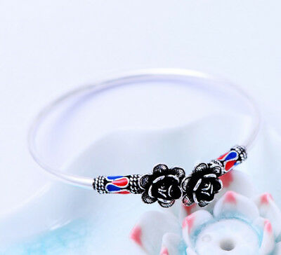 Fine Bracelets Jewelry & Watches A01 Bangle With Ends In The Form Of A Rose Sterling Silver 925 Bracelet