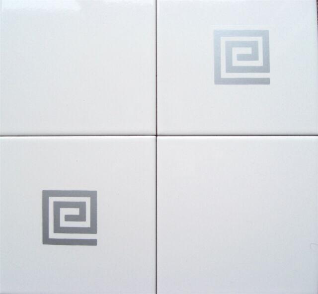 SILVER GREEK KEY - Tile Transfers - (10 per pack)