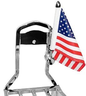 """Motorcycle Square Sissy Bar Flag Mounts With 6"""" X 9"""" American Flag RFMSQSB"""