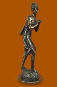 Svendita-Saldi-Firmato-Moreau-Solido-Bronzo-Statua-039-Donna-con-Chitarra-039-Marmo
