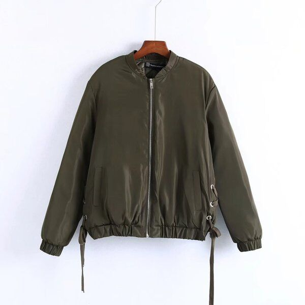 Jacket Jacket Jacket Woman Military Grün Slim Shiny short Waisted 1283
