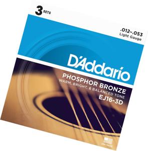 D'Addario Phosphor Bronze Acoustic Guitar Strings EJ16-3D Light 3 Full SETS