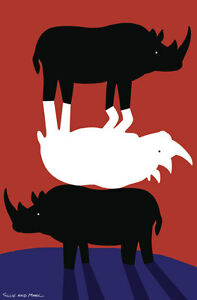 GILLIE-AND-MARC-Direct-from-Artists-Authentic-Rhino-Art-Print-039-Africa-039-039-Love-039