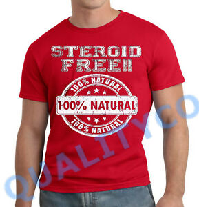 Men 39 s steroid free 100 natural red t shirt beast workout for Free gym t shirts