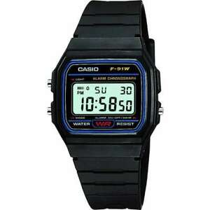 Casio-Men-039-s-F91W-1-BLACK-Digital-Resin-Strap-Alarm-Digital-Watch-RRP-17-50