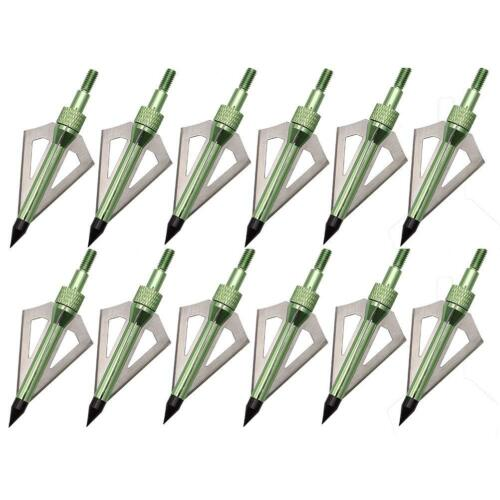 12Pcs 3 Sharp Fixed Blade Broadheads 100 Grain Archery Hunting Arrow Heads Bolts