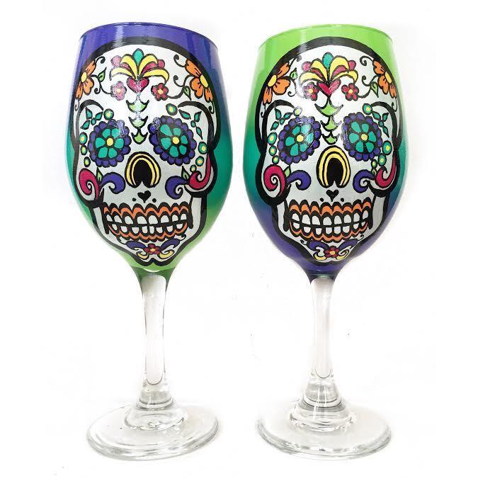 ORIGINAL Rebecca Suriano peinte à la main sugar skull day of the Dead verres à vin