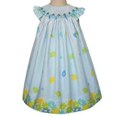 Girls Demure Hand Smocked Blue Floral Bishop Dress 17858