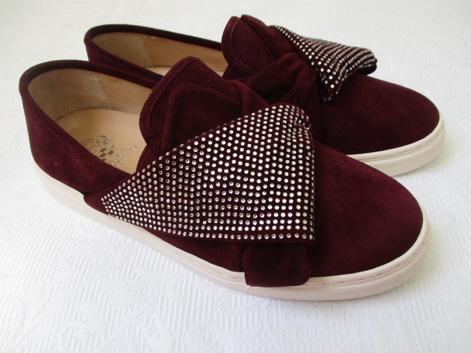 VINCE CAMUTO BARITA BURGUNDY SUEDE RHINESTONE SNEAKERS NEW SIZE 9 W - NEW SNEAKERS 9bd47e