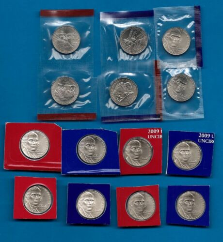 14 Coins 2005 through 2010 SATIN  P/&D Nickels