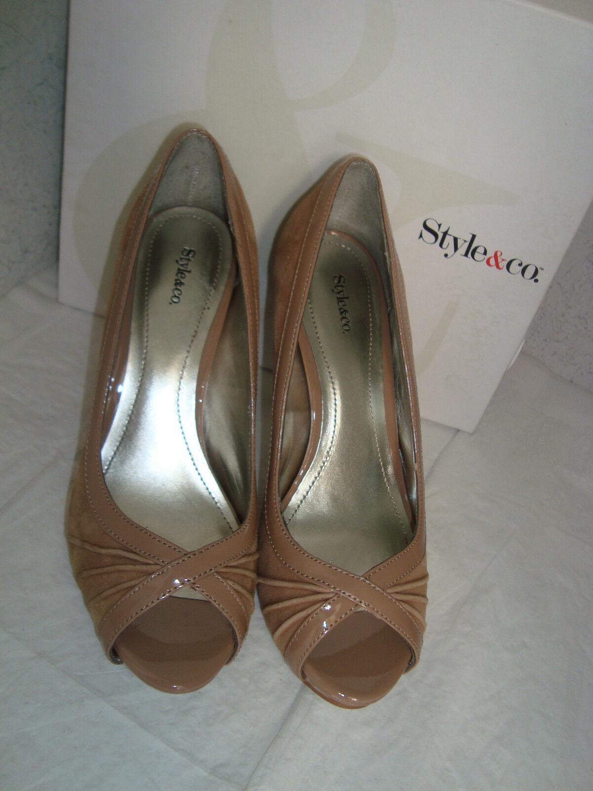 Style & Co Damenschuhe Spicey Clay Open Toe Heels Schuhes Beige 6 Medium Display Model