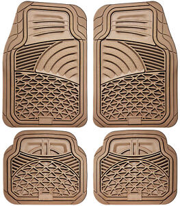 Car Floor Mats for All Weather Rubber 4pc Set Tactical Fit Heavy Duty Beige