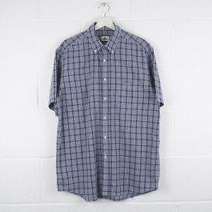 Vintage-LACOSTE-Blue-Check-Short-Sleeved-Cotton-Shirt-Size-Mens-XL