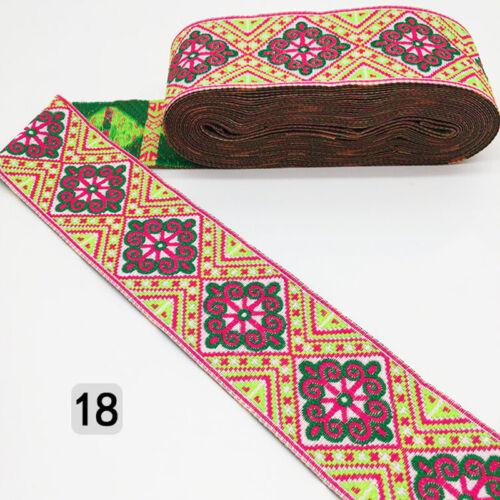 Retro Trim Floral Embroidered Jacquard Woven Ribbon Trim Fringe Braid Craft 7Yds