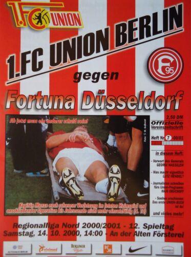 Programm 2000/01 Union Berlin - Fortuna Düsseldorf