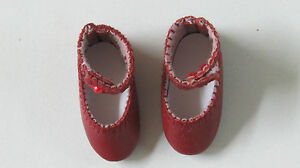 """Chaussures cuir """" Loulotte""""  37/17   Classique  Bordeaux  pour poupées anciennes"""