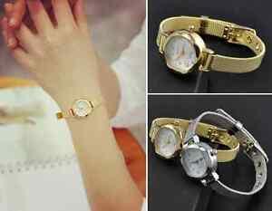Simple-Women-039-s-Lady-Bracelets-Stainless-Steel-Crystal-Dial-Quartz-Wristwatch-New