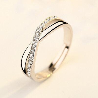 Damen Verstellbar Gr Design Ring Silber Ringe Strass Verlobungs-Ehering Geschenk