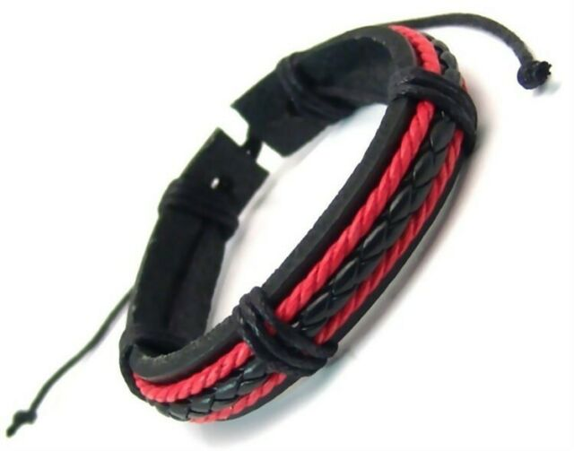 Leather Bracelet Adjustable Black Braided Center Wrapped Straps 6 - 9 inches New