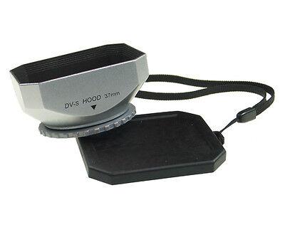 Silver Lens Hood 37mm Screw for CANON VIXIA HF10,11 HF100 HV10 HG20 HG21 M30 M31