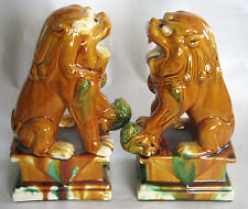 "Majolica Foo Dogs Amber, Turquoise Green, Cream 9 1/4"" Tall"