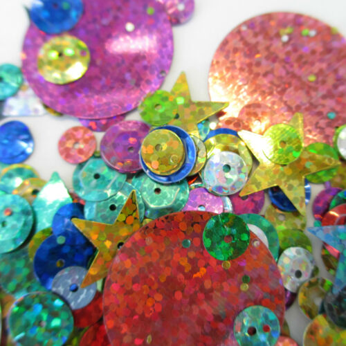 15gm Harlequin Mix Holographic Sequins Cards Confetti Table Sewing Wedding Craft