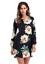 Womens-Flower-Print-long-Sleeve-Top-Blouse-mini-dress-Casual thumbnail 5