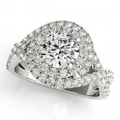 3011. 1.5 CTW Certified VS/SI Diamond Bridal Solitaire Halo Ring 18K White... Lot 3011
