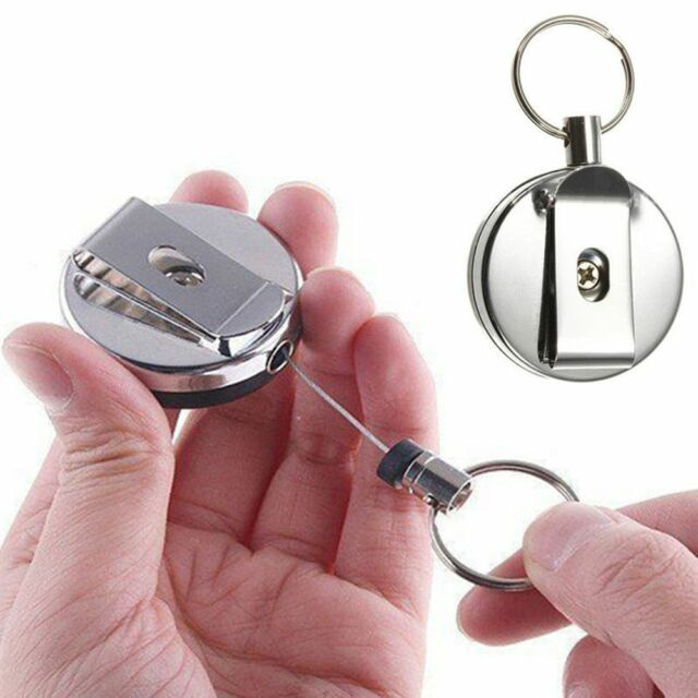 1x Retractable Stainless Steel Badge Holder Recoil Ring Belt Clip Key Chain o