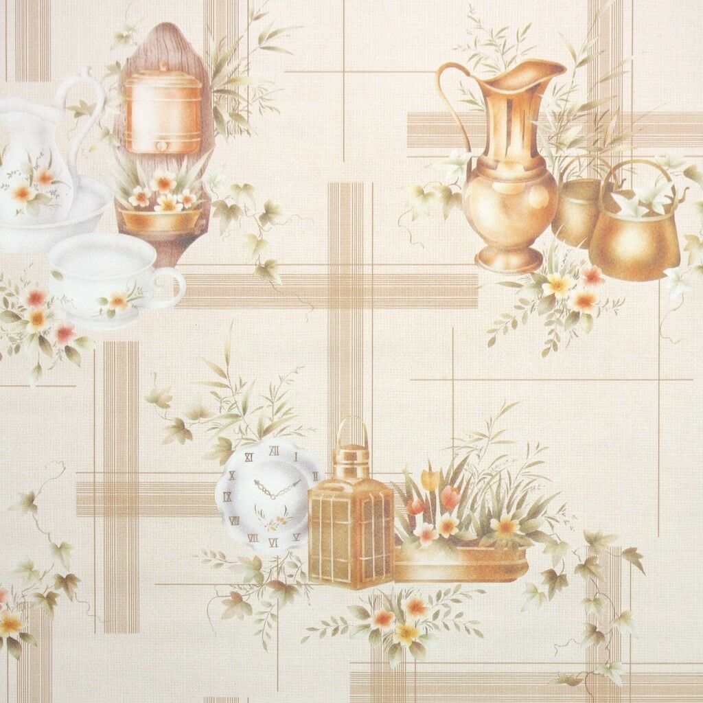 1980s Kitchen Vintage Wallpaper Tan orange Beige Dishes and Flowers